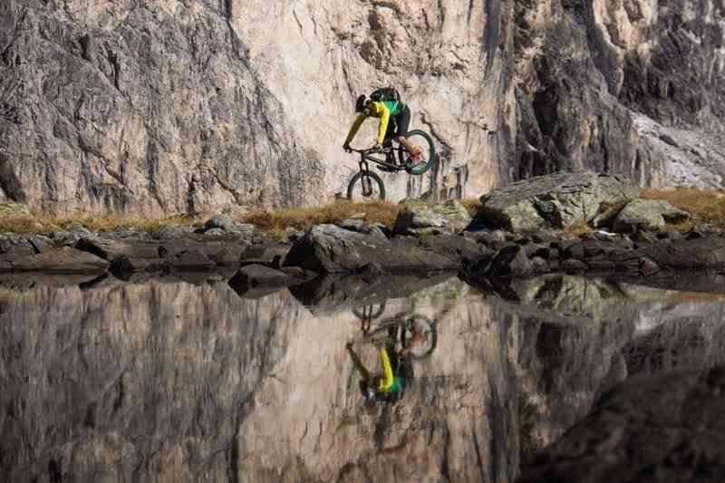 Bike between rock and water