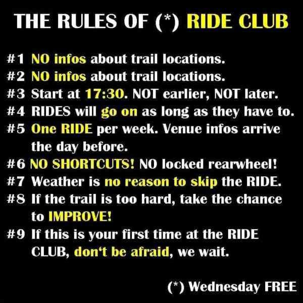 Mountainbike Ride Club Rules