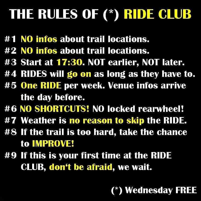 Mountainbike Ride Club Rules