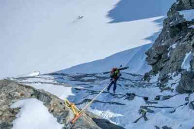 Abseilen mit Ski